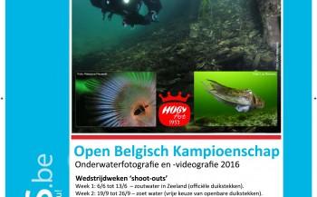Bekendmaking Open Belgisch Kampioen Onderwaterfoto- en videografie 2016