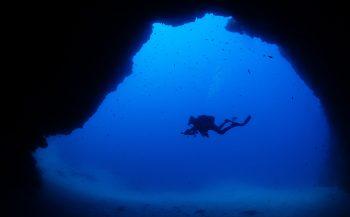 In het diepe blauw