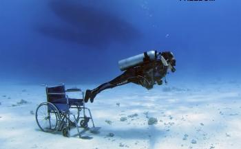 Duiken met een handicap - een uur 'gezond'